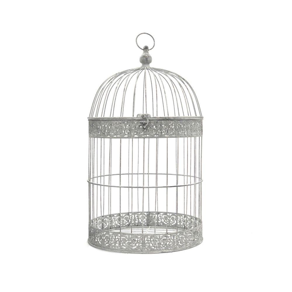 L'Originale Deco Grande Cage Oiseaux Bougie Ronde Gris 62 cm x ø35 cm