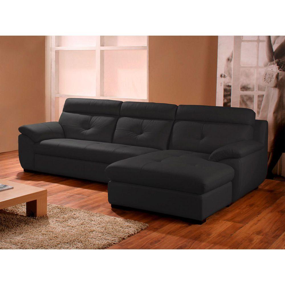 La Maison Du Canapé Canapé Cuir Angle DANA - Droit - Noir