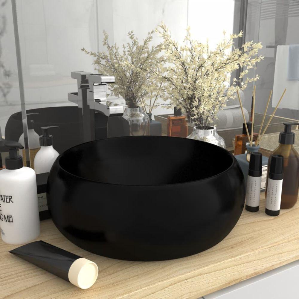 Vidaxl vidaXL Lavabo rond de luxe Noir mat 40x15 cm Céramique