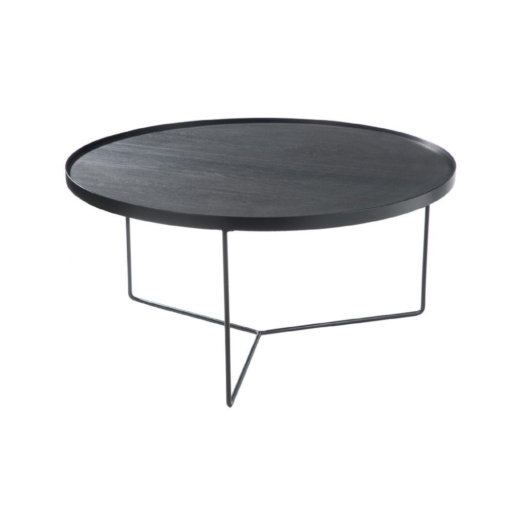 HELLIN TABLE BASSE RONDE MODERNE BOIS/METAL