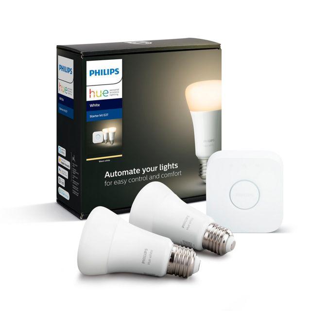 PHILIPS HUE - Pont de connexion + 2 Ampoules E27 White