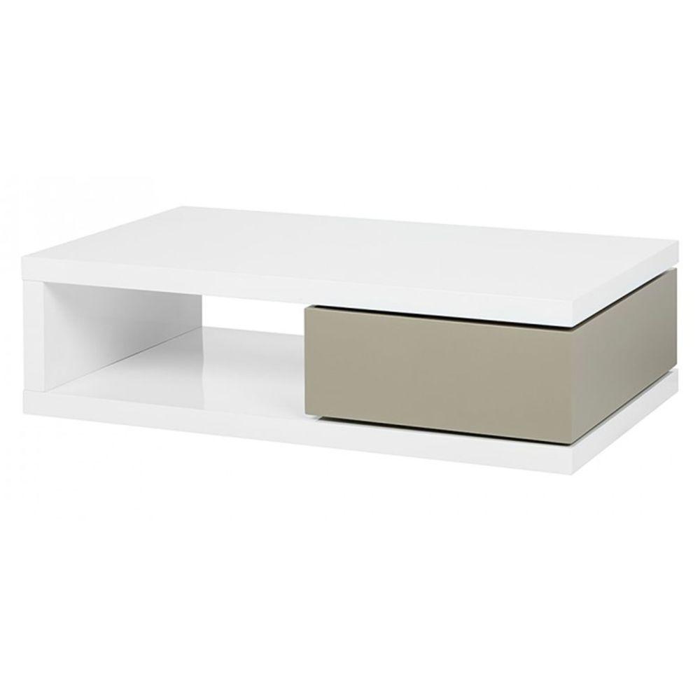 La Maison Du Canapé Table basse laqué ORAZ - Blanc - Blanc