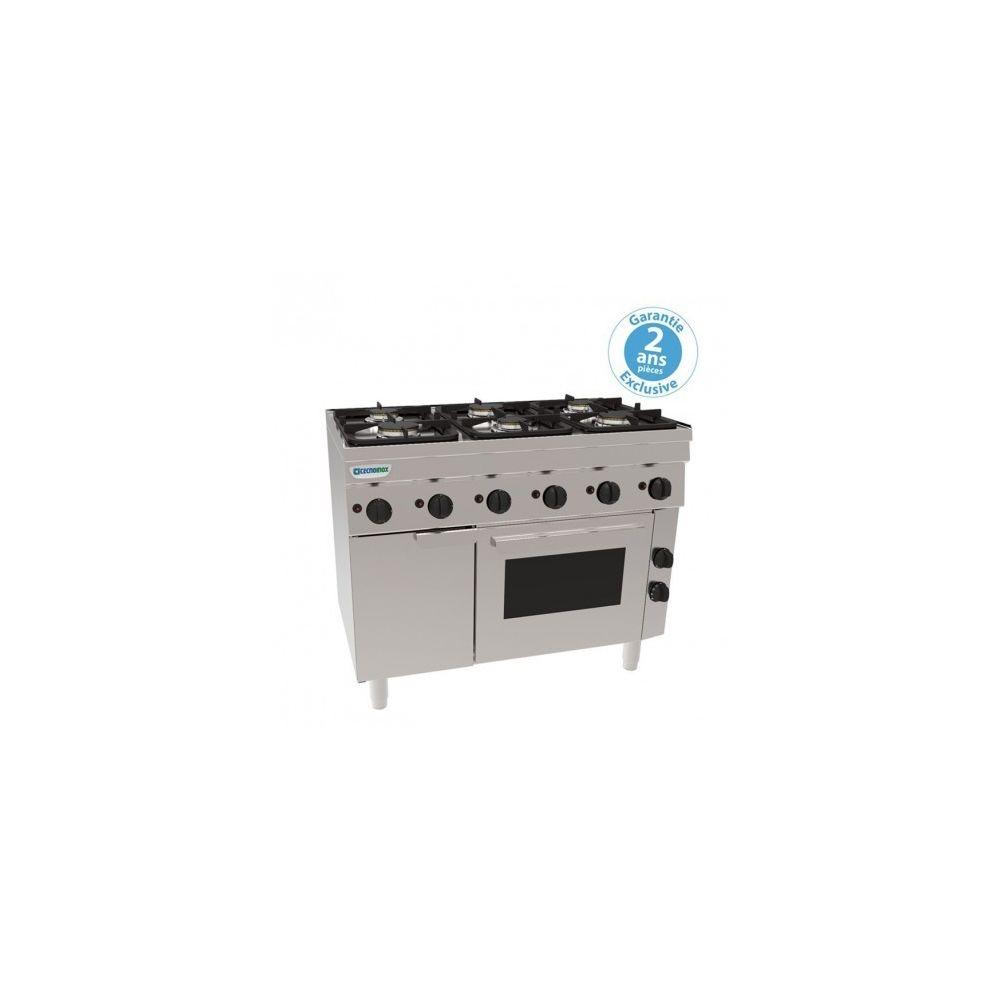 Materiel Chr Pro Fourneau 6 feux avec four électrique ventilé + placard - grilles 400 x 330 mm - gamme 600 - Tecnoinox -