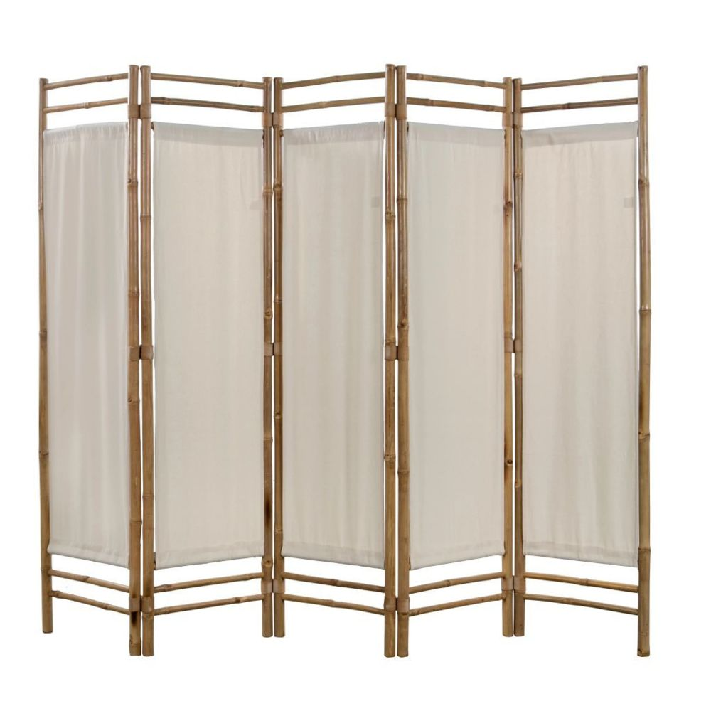 Vidaxl Cloison de séparation pliable 5 panneaux Bambou et toile 200 cm   Crème - Séparateurs de pièces - Meubles   Crème   Crèm
