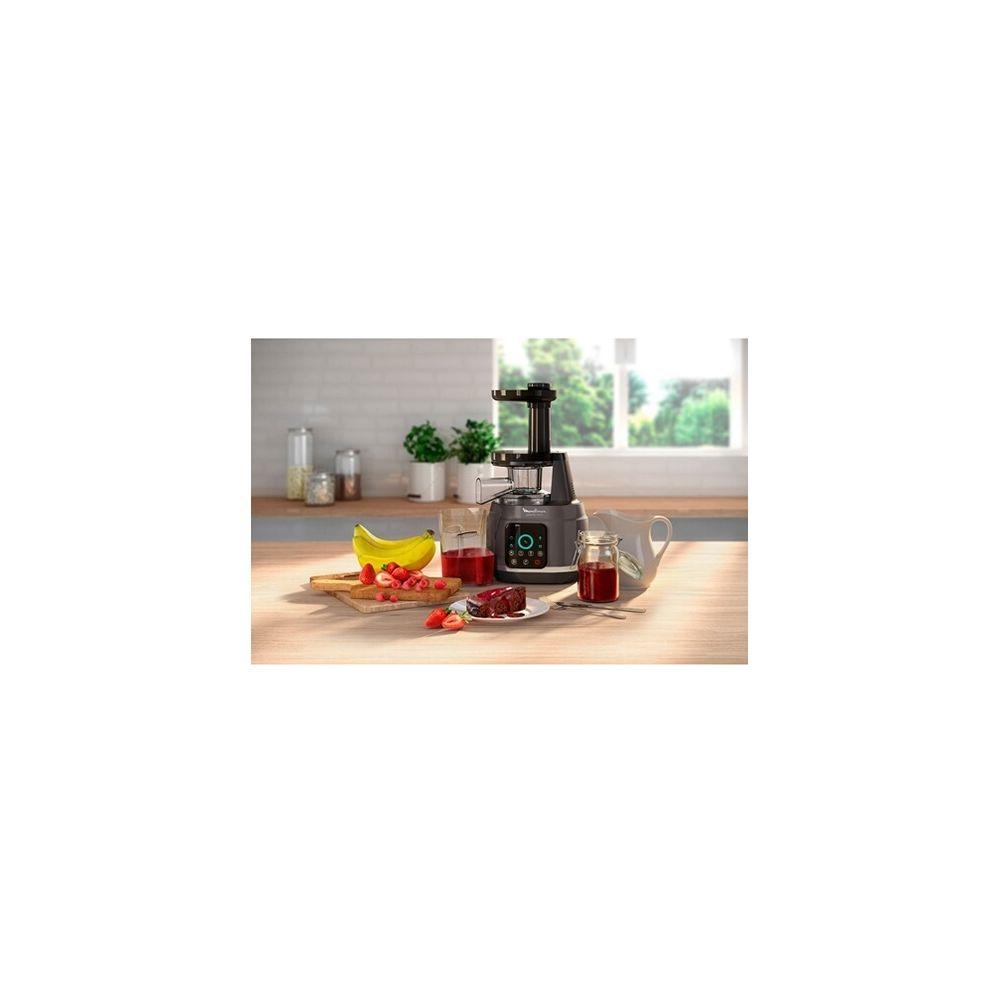 Moulinex extracteur de jus pour Fruits et Légumes avec écran tactle et 6 programmes argent noir