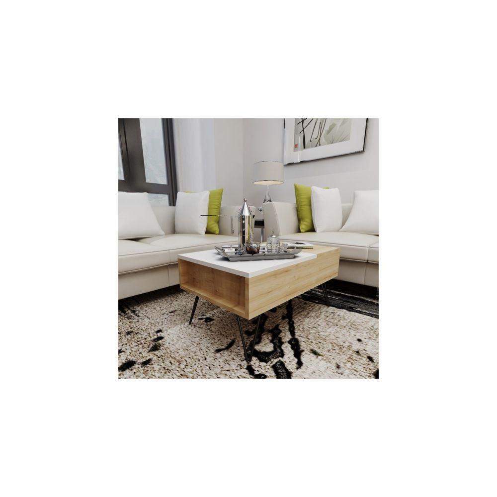 Homemania HOMEMANIA Table Basse Mixa Relevable Porte-Revues, Livres, PC - avec Étagères - pour Salon - Chêne, Blanc en Bois, 80 x