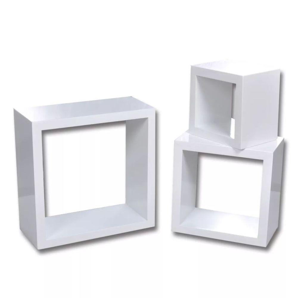 Helloshop26 Étagère armoire meuble design design murale 3 cubes blanc 2702084/2
