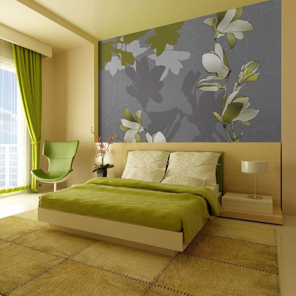 Bimago Papier peint   Magnolias verts   250x193   Fonds et Dessins   Motifs floraux  