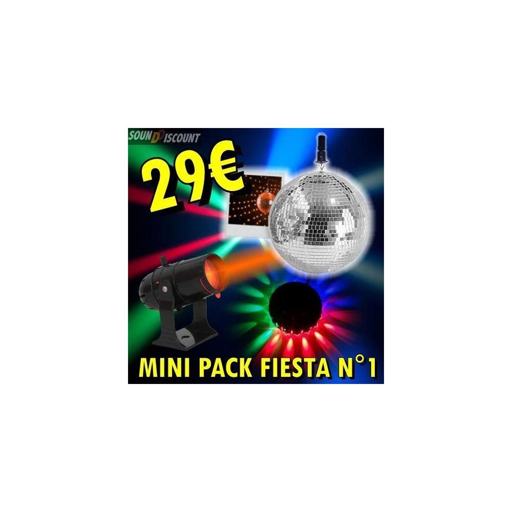 Ibiza Light Jeux de lumiere pack n°1 boule a facette - moteur - spot - ufo 48leds dj pa sono