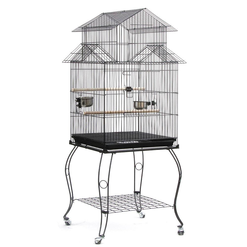 Jeobest Cage Oiseaux 59 x 59 x 139,5 cm sur Roulettes Calopsittes Inséparables Mandarins Canaris