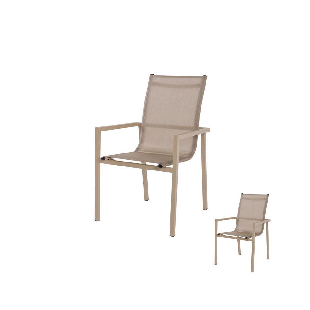 Tousmesmeubles Duo de Chaises Aluminium/Textilène champagne - BORNEO