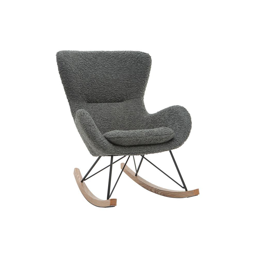 Miliboo Rocking chair design tissu gris effet laine bouclée ESKUA