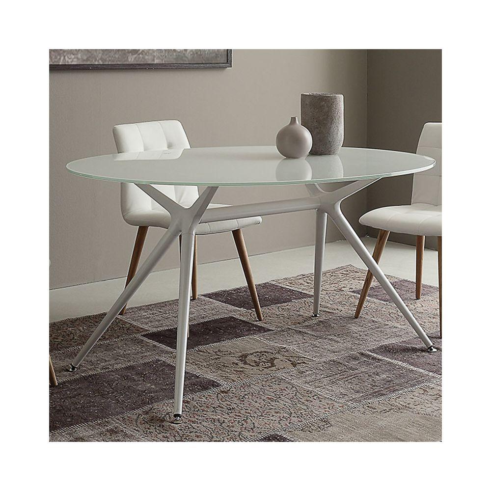 Nouvomeuble Table ovale blanche en verre design IRINA