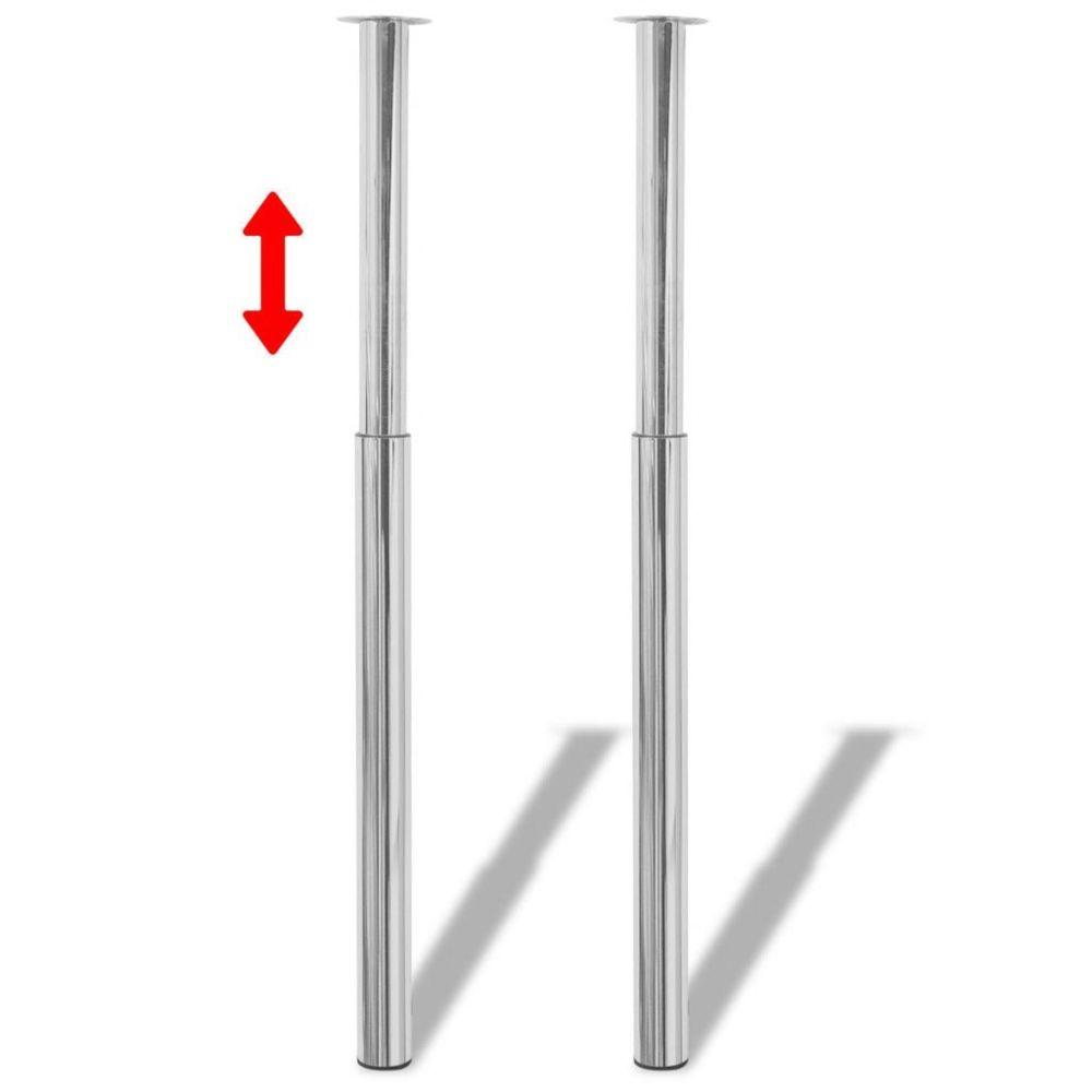 Vidaxl vidaXL 2 pieds de table télescopique Chrome Hauteur réglable 710 mm -1100 mm