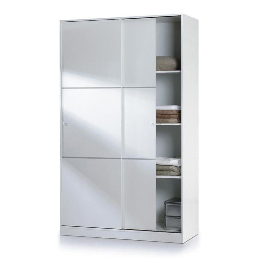 Pegane Armoire avec 2 portes coulissantes coloris blanc - Dim : L 200 x H120 x P 50 cm -PEGANE-
