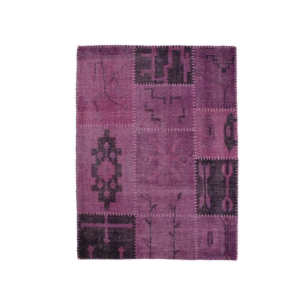 Mon Beau Tapis KILIM - Tapis en laine artisanal patchwork ethnique violet 135x190