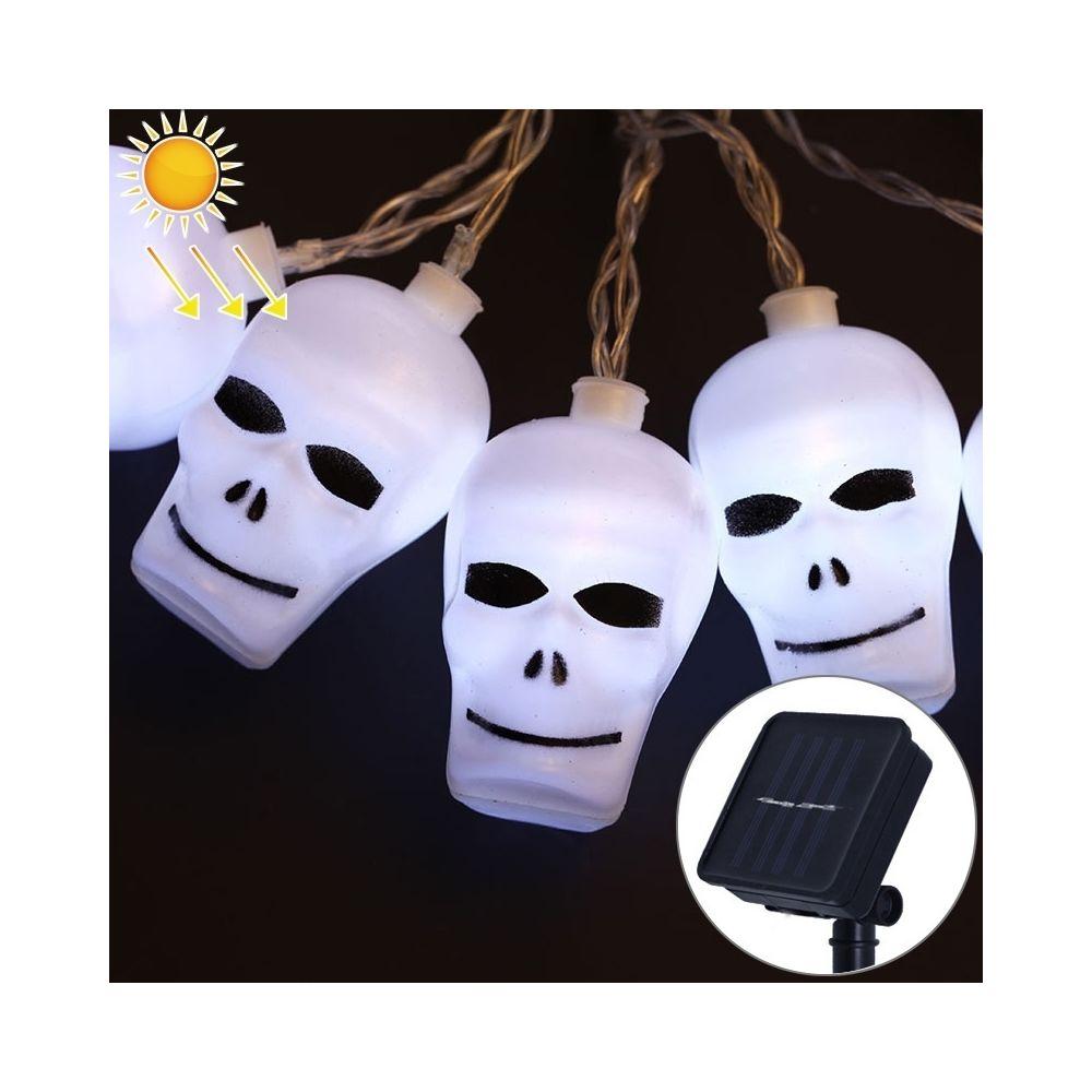 Wewoo 2,5 m Ghost Head Design White Light Série Halloween à énergie solaire, guirlande LED, 20 LED Accessoires de fête Fée Déc