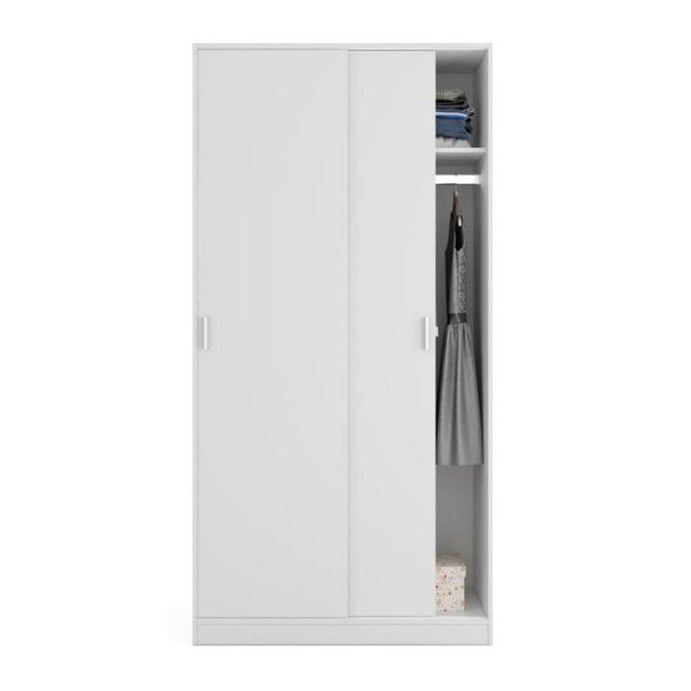 Pegane Armoire avec 2 Portes Coulissantes coloris Blanc - Dim : L 100 cm x H 200 x P 50 cm -PEGANE-