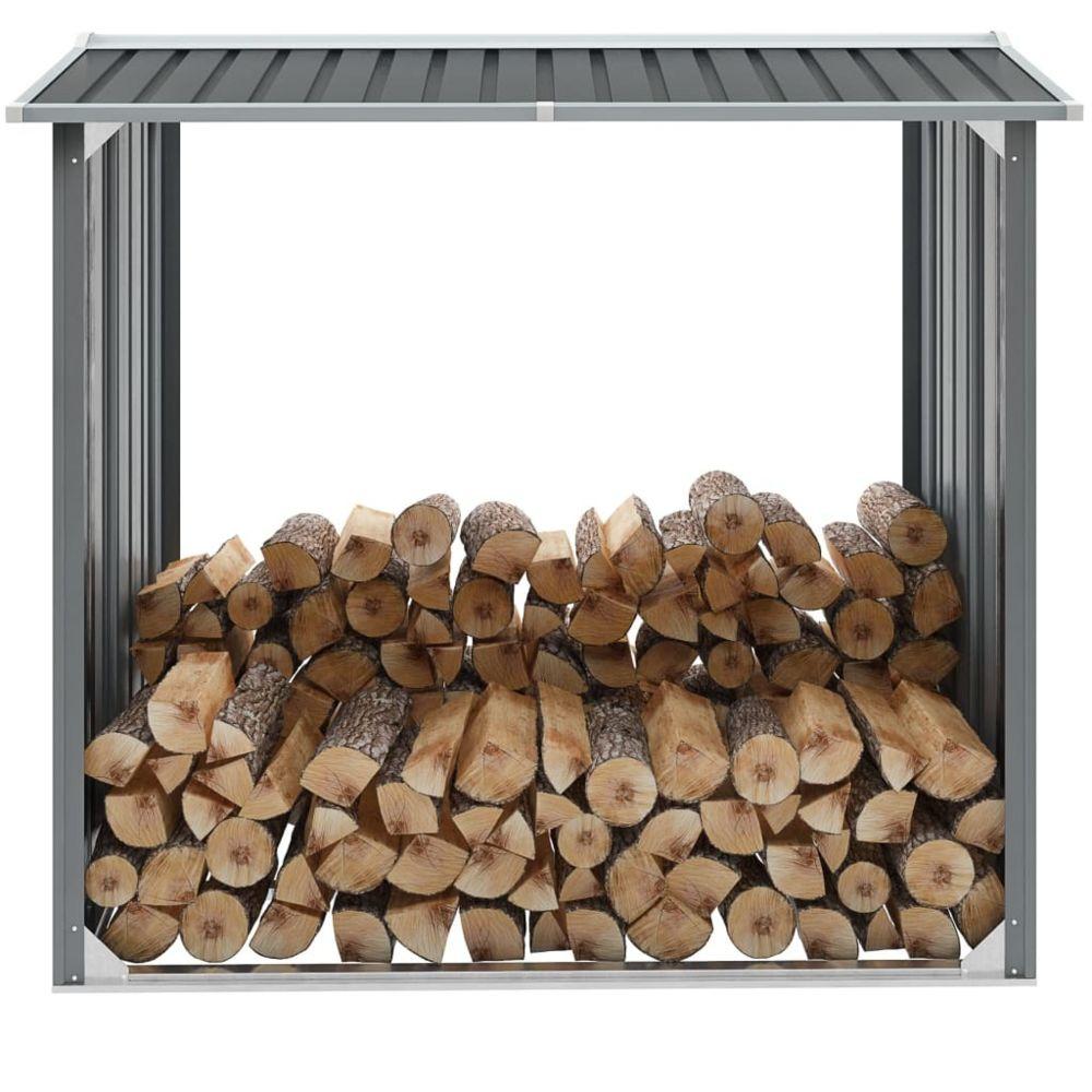 Vidaxl Abri de stockage de bois Acier galvanisé 172x91x154 cm Gris - Accessoires pour range-bûches et porte-bûches | Gris | Gri