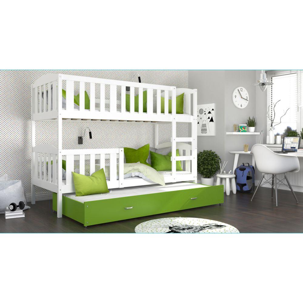 Kids Literie Lit superpose 3 places Téo 90x190 blanc vert livré avec tiroir,3 sommiers et 3 matelas en mousse de 7cm offerts