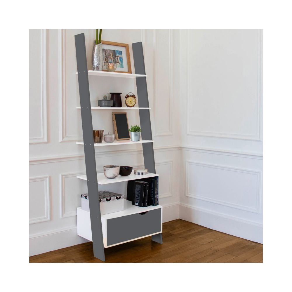 Idmarket Étagère échelle scandinave bois blanc et gris