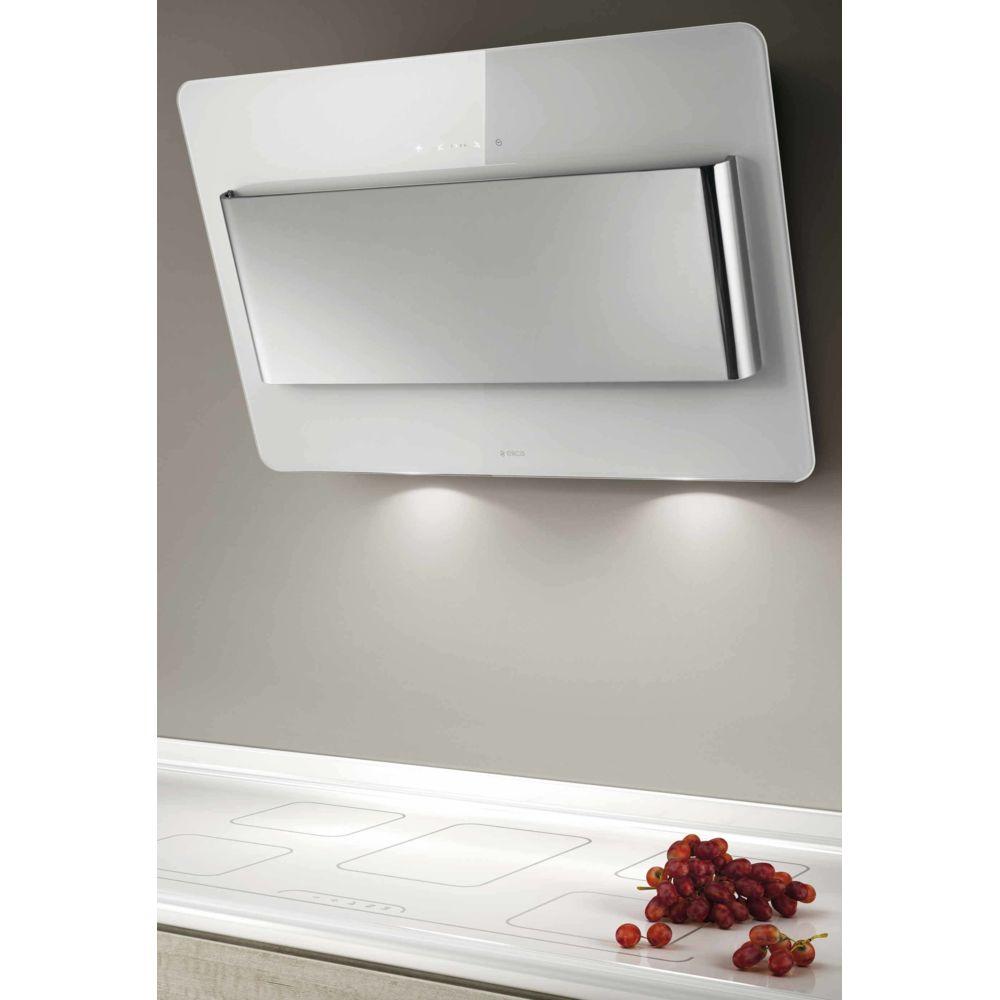 Elica elica - hotte décorative inclinée 80cm 603m3/h blanc/inox - prf0038443a