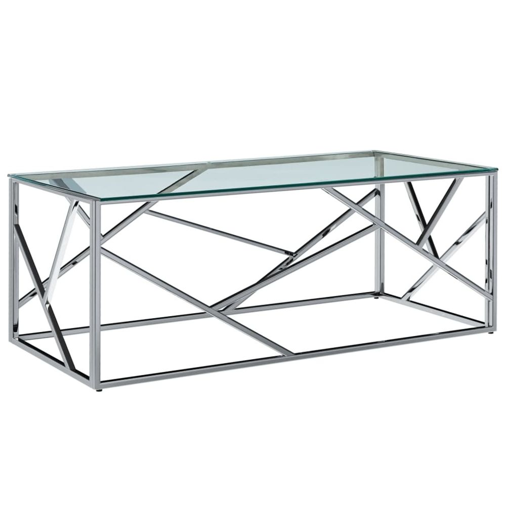 Vidaxl vidaXL Table basse Transparent 120x60x40 cm Verre trempé et inox