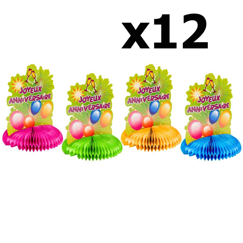 Visiodirect Lot de 12 Centres de table Joyeux anniversaire en papier - 17 X 23 cm