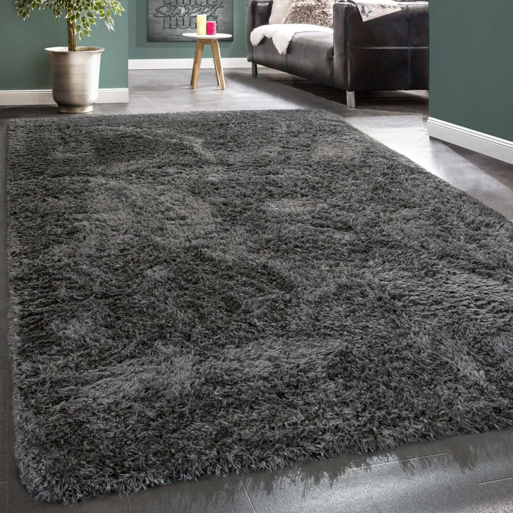 Paco-Home Tapis Poils Hauts Moelleux Moderne Shaggy Style Flokati Confortable Uni Anthracite