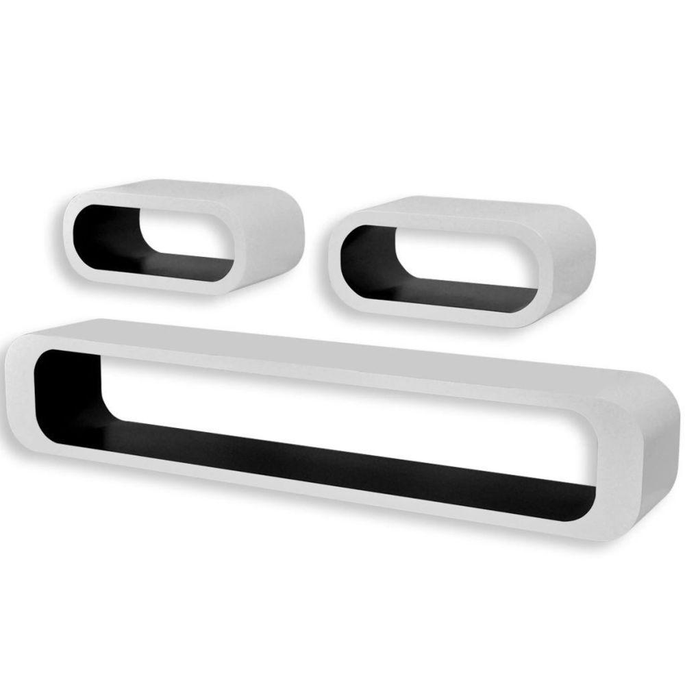 Helloshop26 Étagère armoire meuble design 3 cubes suspendues mdf stockage dvd blanc noir rectangulaire 2702087/2