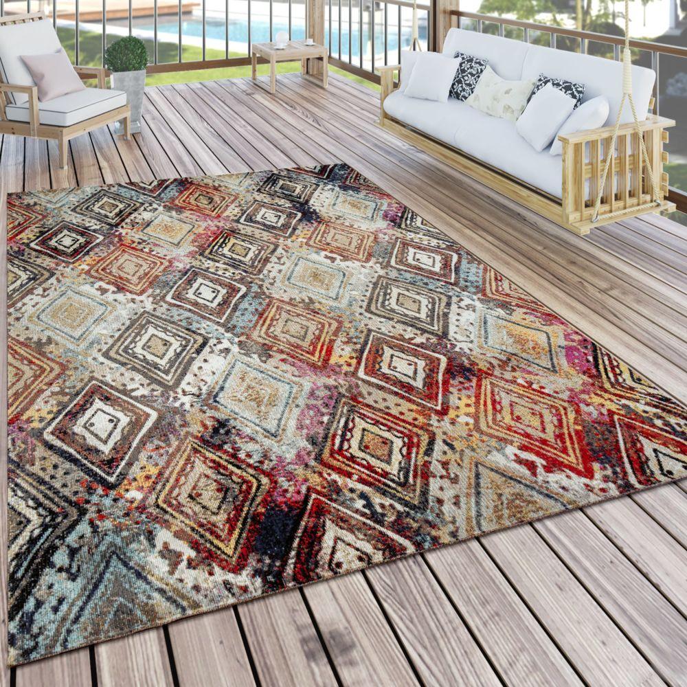 Paco-Home Tapis d'extérieur Tapis de terrasse coloré Terrasse Balcon Vintage Look Diamants Design Peinture Optique