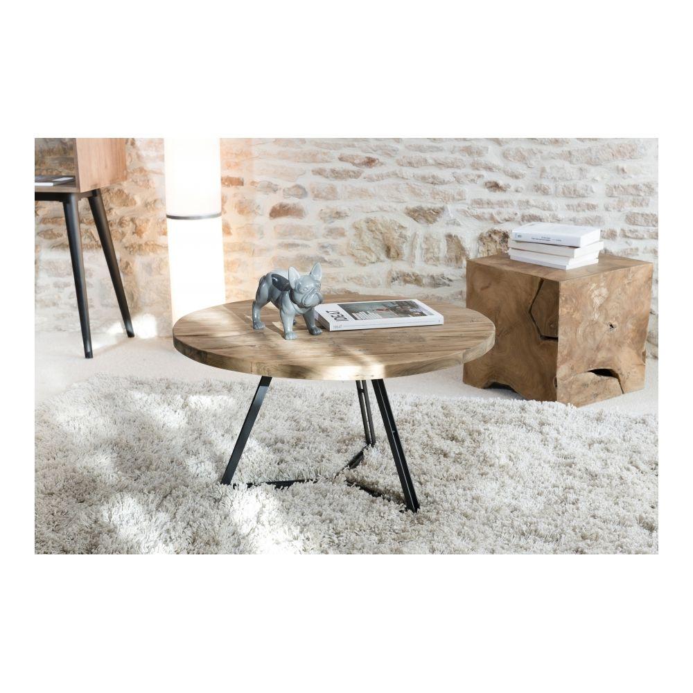 MACABANE Table basse ronde pieds noirs 75x75 cm APPOLINE - teck foncé
