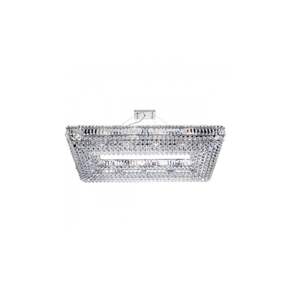 Searchlight Suspension rectangulaire 24 ampoules Vesuvius, en chrome et cristal