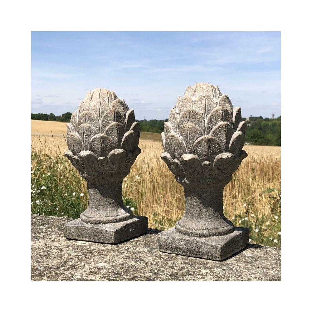 L'Originale Deco 2 Grande Pommes de pin Terre Cuite Artichaut 28 cm x ø15 cm