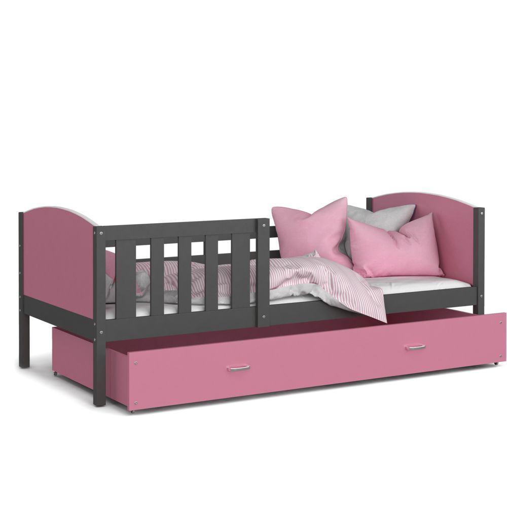 Kids Literie Lit enfant Tomy 90x190 gris rose livré avec tiroir, sommier et matelas en mousse de 7cm offert
