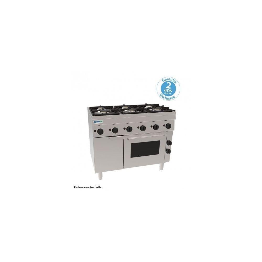 Materiel Chr Pro Piano de cuisson 6 feux sur four gaz statique + placard - grilles 400 x 330 mm - gamme 600 - Tecnoinox -