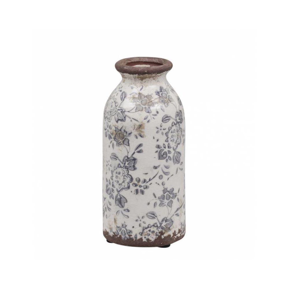L'Héritier Du Temps Vase Soliflore Pichet Broc Pot de Fleurs Décoration Intérieur Extérieur en Terre Cuite Emaillée Blanche et Bleue 7x7x16c