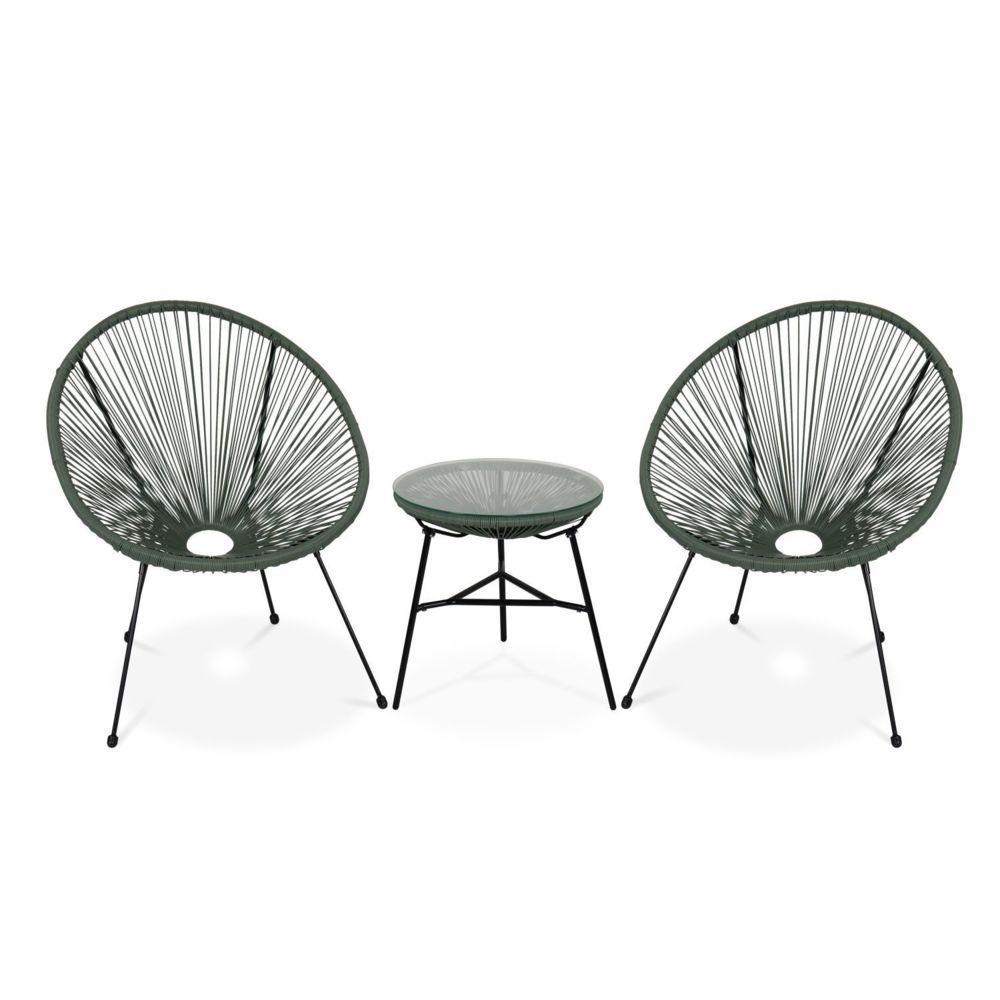 Alice'S Garden Lot de 2 fauteuils ACAPULCO forme d'oeuf avec table d'appoint - Vert de gris - Fauteuils design rétro