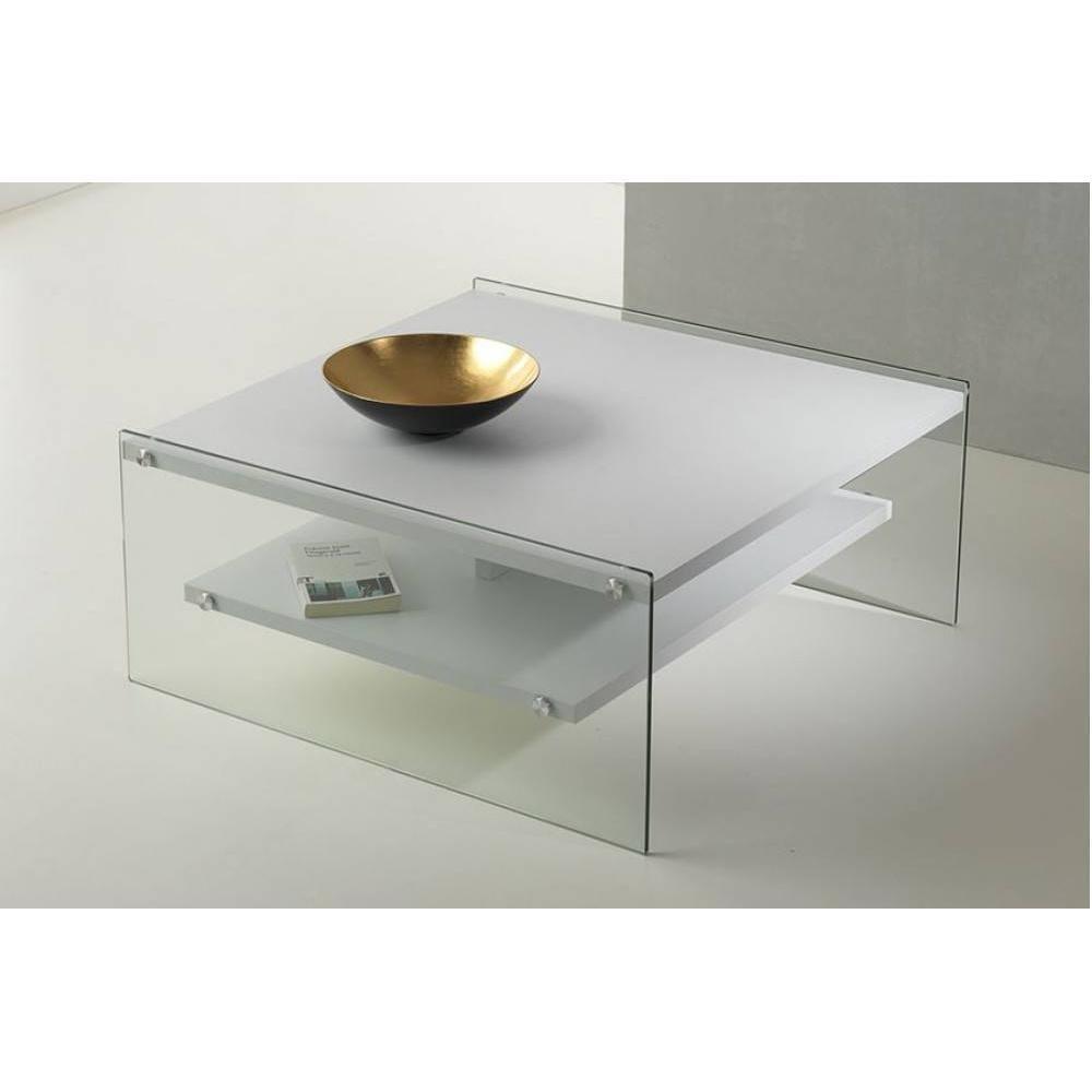 Inside 75 Table basse BELLA 2 plateaux blanc mat piétement en verre