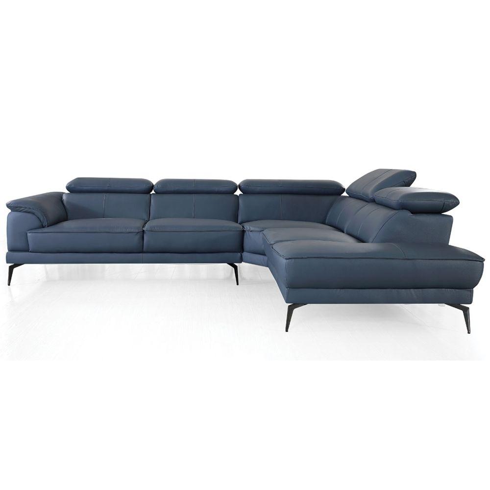 La Maison Du Canapé Canapé d'angle en cuir ELEA - Droit - Bleu gris