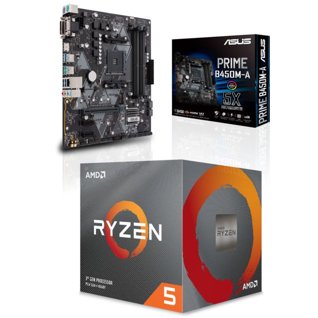 Amd -Ryzen 5 3600 Wraith Stealth Edition - 3,6/4,2 GHz + AMD B450 PRIME - Micro-ATX Amd  - Kit d'évolution