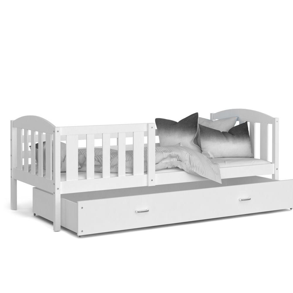 Kids Literie Lit enfant Téo 90x190 blanc blanc livré avec tiroir, sommier et matelas en mousse de 7cm offert