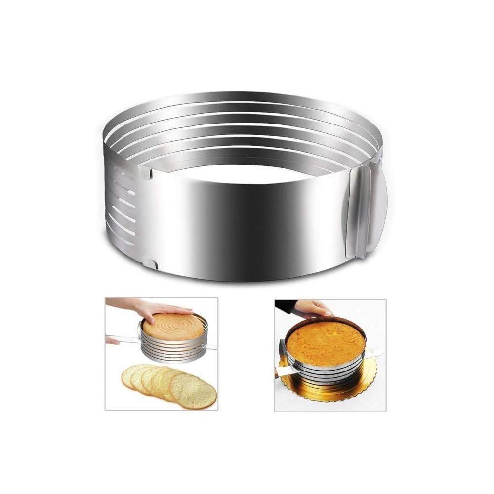 Marsee réglable en acier inoxydable mousse Moule à gâteau de couche trancheuse kit Argent, diamètre 16-20cm