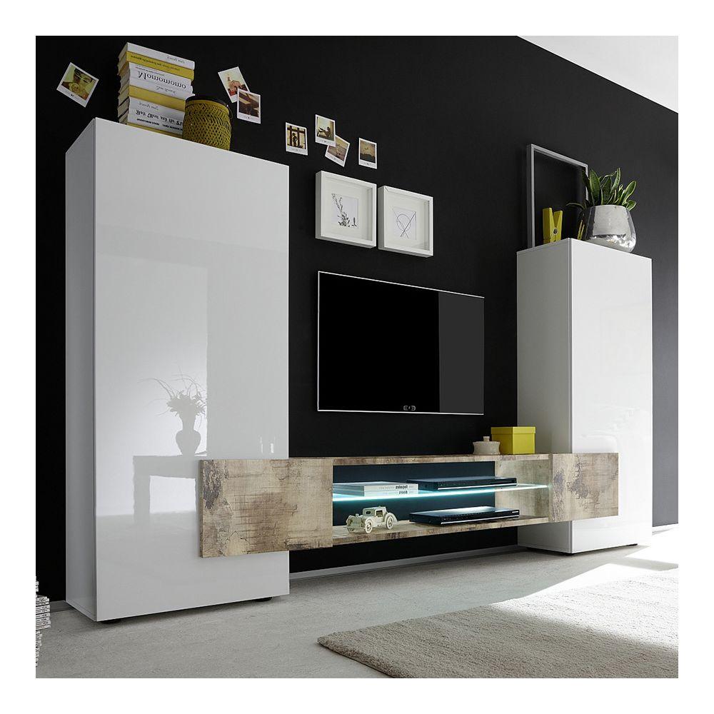 Kasalinea Ensemble meubles TV blanc laqué brillant et couleur bois EROS 2