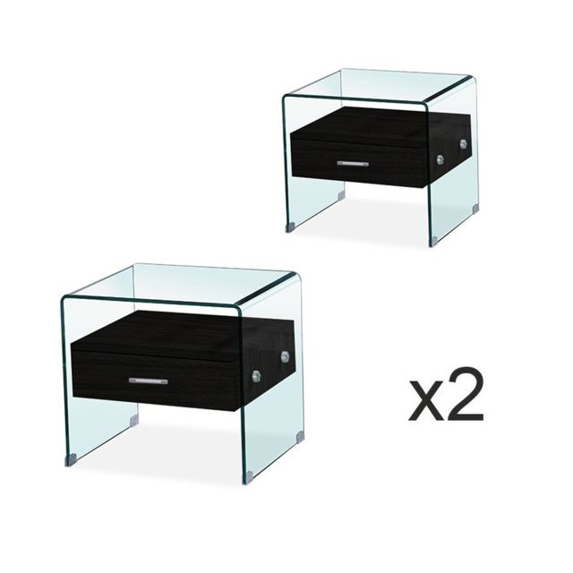 Meubler Design - Lot de Table de chevet en verre ELSA noir - Chevet