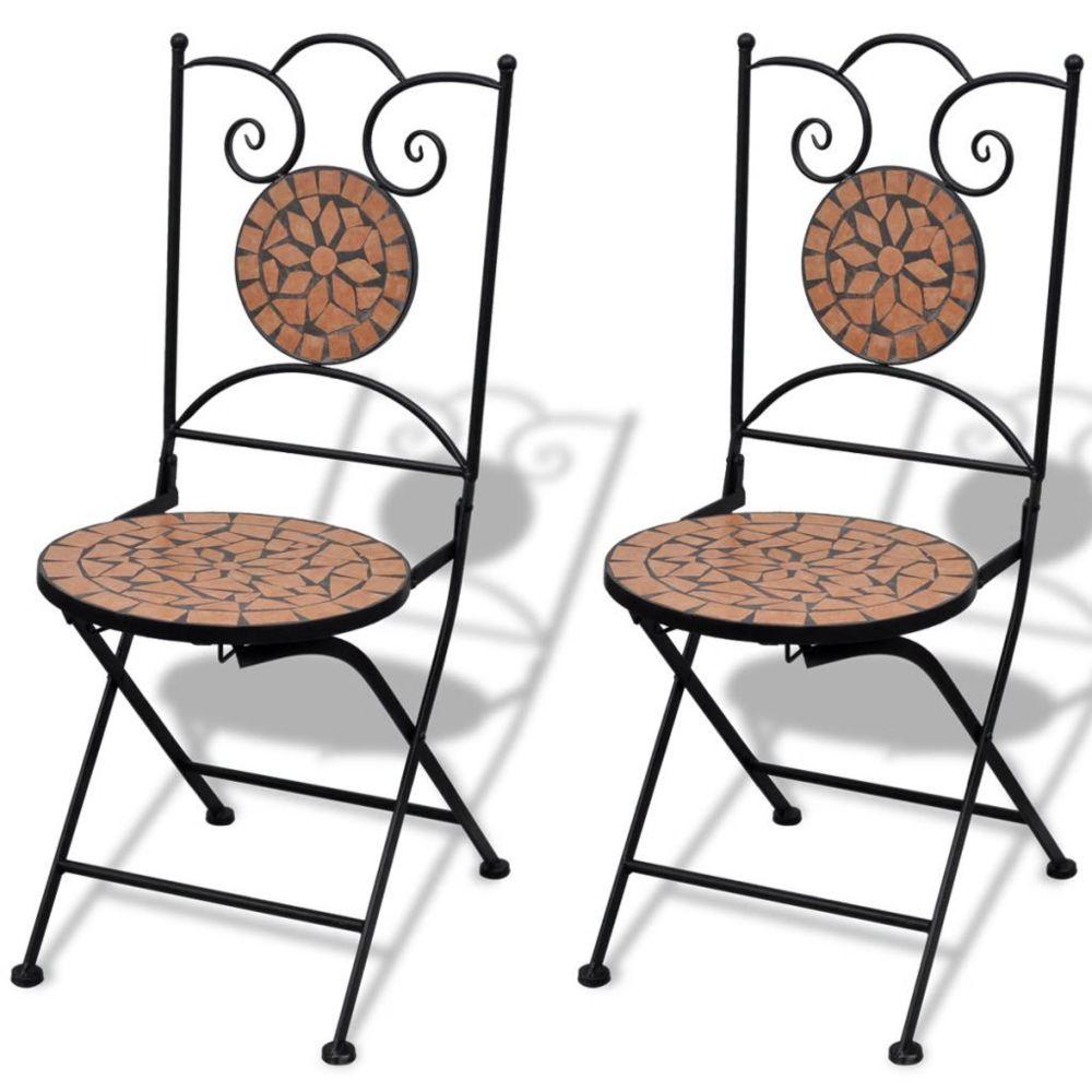 Vidaxl Set de 2 chaises mosaïque en terre cuite   Brun