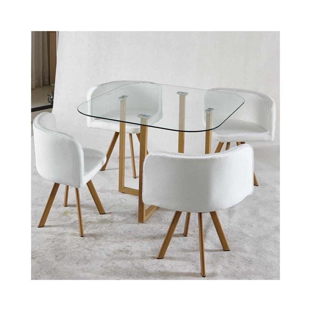 Meubler Design ENSEMBLE TABLE + 4 CHAISES ENCASTRABLE POPUP - Blanc
