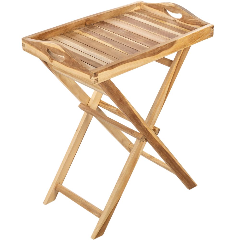 Primematik PrimeMatik - Plateau pliant d'extérieur avec pieds 60 x 70 x 40 cm en bois de teck certifié
