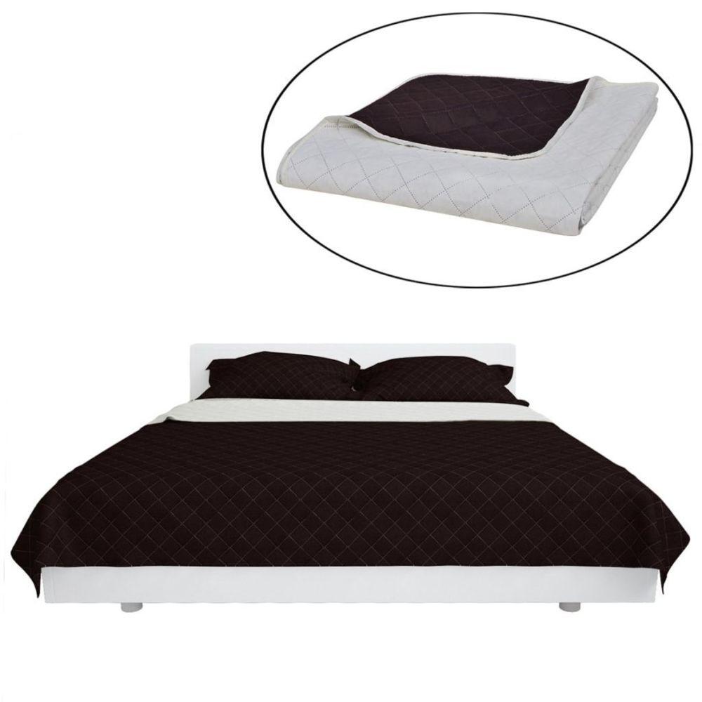 Vidaxl Couvre-lits à double côtés Beige/Marron 220 x 240 cm | Beige