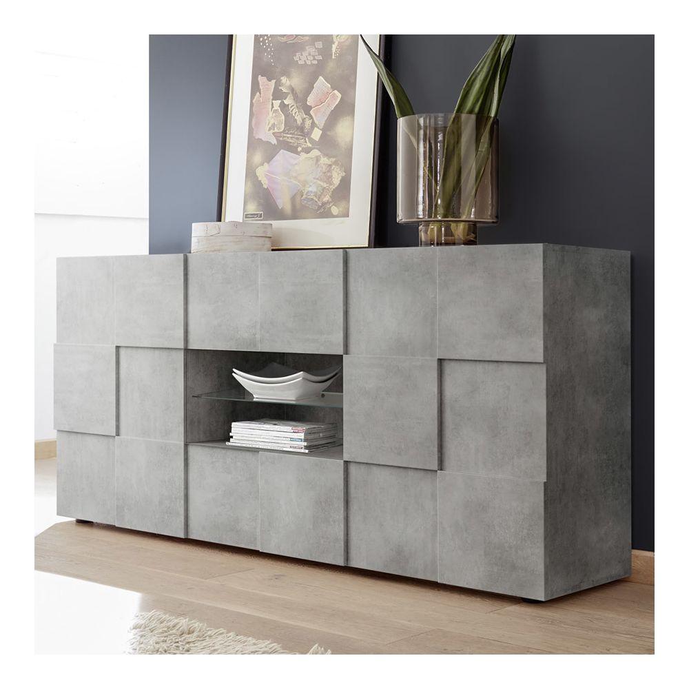 Kasalinea Buffet 180 cm gris effet béton design DOMINOS 4